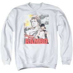 RAMBO:FIRST BLOOD/THEY DREW COLLAGE - ADULT CREWNECK SWEATSHIRT - WHITE -