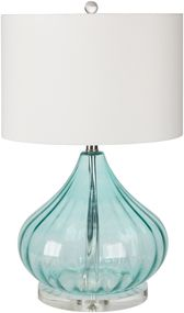 This tall color drenched table lamp created of a piece of mouth blown glass is hot sprayed in a relaxed, cool seafoam aqua. Reminscent of a large maritime buoy, the lamp is finished with a crisp white