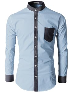 $30.99 Doublju Men's Button Down Shirts With Color Combination Mandarin Collar (KMTSTL0107)