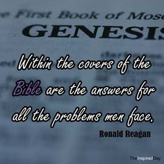 Within the versus of the Bible are the answers for all the problems men face. --Ronald Reagan - http://whowasronaldreagan.com/?p=47