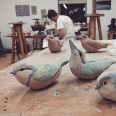 Late nights ahoy! Art in Action is two weeks away. Don't panic don't panic! #artinaction #clayanimals #don'tpanic