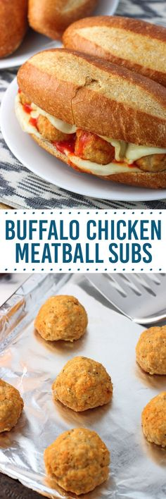 Buffalo chicken meatball subs are a slightly spicy and cheesy family favorite sandwich. These baked buffalo chicken meatballs are juicy and tender!
