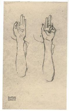 Spiritual Hands, Charcoal Line Drawings, by Gustav Klimt. Fine Art.