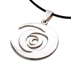 """Tombola Silver - A Powerful Tool for New Beginnings.  The Tombola pendant was designed by Javier Hernandez who won David's jewelry design contest for May-June 2007.  Javier descrbied the pendant in the following words: """"Eternal motion of the physical and spiritual realms.  The inverted axis on each circle represents that life's eternal motion is never random.  Nothing happens by accident."""