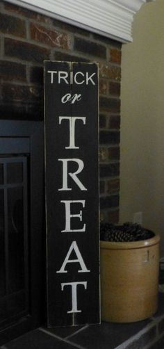 Trick or Treat Halloween porch sign by Twoheartssigns on Etsy