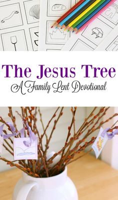 Lent Devotion Jesus Tree: Family Devotion / Lent Decor / Christian Coloring Pages / Catholic Child Printable Activity / Easter for Children Simple family worship for your children and you during Lent. Prepare yourself for Easter with this great devo Tree Coloring Page, Coloring Pages, Easter Crafts, Crafts For Kids, Easter Ideas, Lent Devotional, Jesus Tree, Catholic Lent, Catholic School