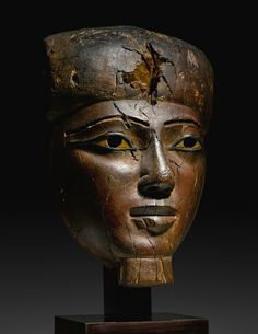 Large Egyptian Wood Mummy Mask, 25th/Early 26th Dynasty, C. 750-600 BC