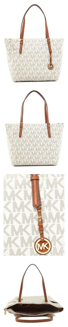 0ee09929bd  233.99 - Michael Kors Jet Set Signature Travel Top Zip Tote Vanilla   michaelkors