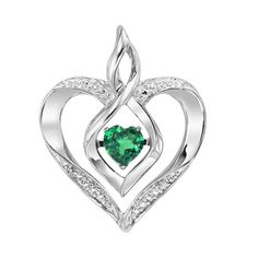 VIBRATING CENTER! Rhythm of Love Birthstone Heart Pendant in Sterling Silver with Diamond Accents. Vibrating heart-shaped birthstone in center is powered by your heartbeat! Choose from 12 created birthstone styles. Rhodium plated to prevent tarnishing. Shown: May Birthstone (created emerald), Ref# GEM-ROL1165E. Goldex Fine Jewelry ~ (323) 726-7181.