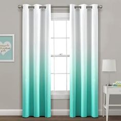 Mia Ombre Insulated Grommet Blackout Window Curtain Panels Aqua Set - Lush Decor curtain panels are not only stylish, but they are also functional. These panels will block natural light and help reduce energy costs. The fashionable om Blackout Windows, Blackout Curtains, Drapes Curtains, Ombre Curtains, Curtains Walmart, Grommet Curtains, Curtain Sets, Curtain Panels, Thermal Curtains