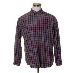 "Vtg J.CREW Green Navy Blue Red Square Check Plaid Light Flannel Shirt 50"" L #JCrew #ButtonFront"