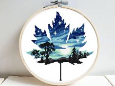Leaf silhouette Modern Cross Stitch Pattern, starry night, n Embroidery Leaf, Embroidery Designs, Cross Stitch Embroidery, Cross Stitch Bookmarks, Cross Stitch Art, Cross Stitching, Counted Cross Stitch Kits, Modern Cross Stitch Patterns, Cross Stitch Designs