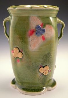 Jennifer Mecca - green vase, porcelain