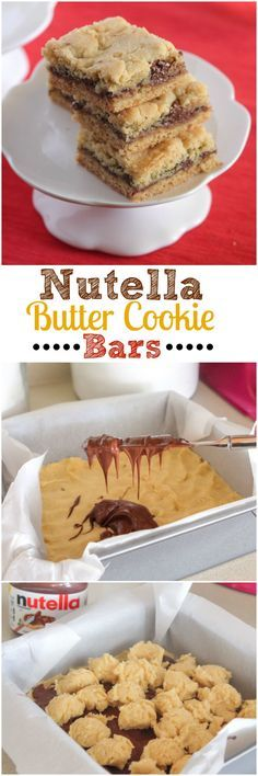 Nutella Butter Cookie Bars ~ ~ buttery, pudding cookie crust with creamy Nutella stuffed inside