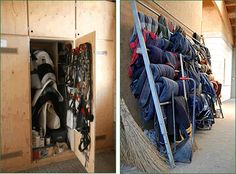 The modern tack room, storage lockers have crept in, and blanket racks have started appearing.