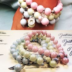 Hand crafted Swarovski Crystal Mat Pearls bracelet set www.justinna.com