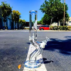 HVY GLASS - CLEAR CURVED STRAIGHT WATER PIPE  This cool water pipe from @hvyglass is available now on our online smoke shop!  KINGS-PIPE.COM  #kings.pipe
