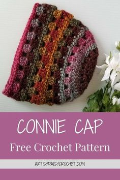 CONNIE CAP Free Crochet Pattern The Effective Pictures We Offer You About Crochet patrones A quality picture can tell you many things. Bonnet Crochet, Crochet Beanie Pattern, Crochet Cap, Crochet Scarves, Crochet Clothes, Crochet Patterns, Crochet Hooks, Easy Crochet Hat, Crochet Daisy
