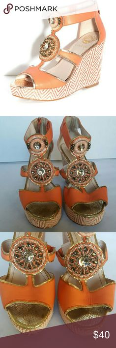 """Vince Camuto Torta Wedge Heel Sandal Coral colored leather upper embellished with beads give this shoe a classy touch. Chevron pattern covered wwdge with snakeskin embossing on the toe and trim. There is minor wear on footbed and some scuffs on heels   1"""" platform 5"""" heel Vince Camuto Shoes Sandals"""