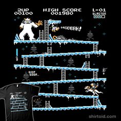 Donkey Hoth shirt by artist LesSavyTrav and Julien Bazinet available thru Redbubble.com...    I have always loved shirts that mash up this classic Donkey Kong screen with other things I love, such as Star Wars... this one is pretty cool.