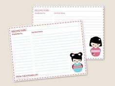 Free Printable: 4×6 Kokeshi Doll Recipe Cards