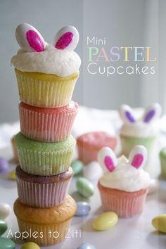 Mini Pastel Bunny Ear Cupcakes