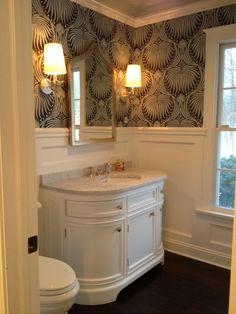 Half Bathroom - Farrandw & Ball Lotus Wallpaper, Zanzibar Gold Leafed Mirror, Odeon Single Vanity, restoration hardware vanity,powder room wainscoting, gold vanity mirror, curved washstand, powder room sink vanity,