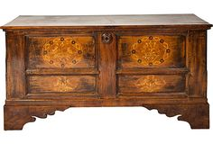 """Antique Italian Cassone Chest 60""""l x 22""""w x 30 h to use in front of Red leather sofa"""