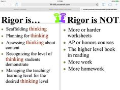 what does rigor in the classroom look like Instructional Coaching, Instructional Strategies, Teaching Strategies, Teaching Tools, Teaching Resources, Teaching Ideas, Stem Teaching, School Leadership, Educational Leadership