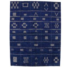 Contemporary Moroccan Style Area Rug in Cobalt Blue   From a unique collection…