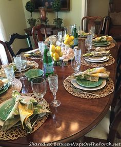 Italian Themed Tablescape with Lemon Centerpiece by Between Naps on the Porch.