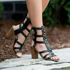 """Sphinx sandals from Mia Limited Edition This strappy gladiator silhouette features black leather upper with caged look, stacked heel, and metal studs and jewels. A zipper on the side makes an easy fit.   Details: heel 3-1/4"""", leather upper, leather sole, fits TTS, fits loose on narrow feet.  Please use only ✔OFFER  button for all price negotiations. I'll do a price drop⤵ for you for discounted shipping, if we agree about the price. MIA Limited Edition Collection Shoes Sandals"""