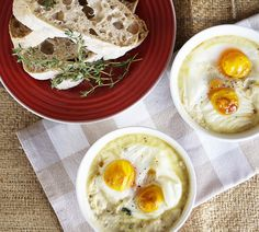 Baked eggs with spinach, mushrooms and parmesan from Emma Dean's A Homegrown Table