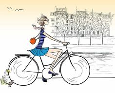 See Dorothea Renault interpret women Illustration Parisienne, Illustration Mignonne, Bicycle Illustration, Illustration Photo, Bicycle Drawing, Bicycle Art, Velo Paris, Bike Poster, Buch Design