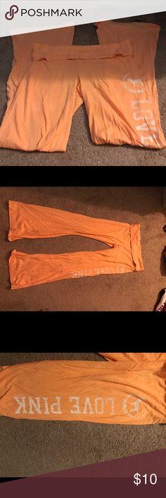 Victoria secret thin pants Light orange, thin pants, sometimes see through, has white riding down side PINK Victoria's Secret Pants Leggings