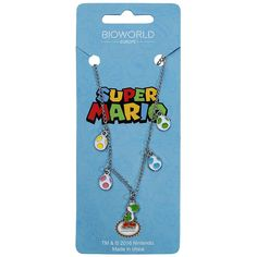 Super Mario - Yoshi and Eggs  - silver-coloured necklace with pendants in the shape of Yoshi and the Yoshi eggs - necklace length: approx. 47 cm - egg size: approx. 0.8 x 1 cm - size of Yoshi: approx. 1 x 1.8 cm