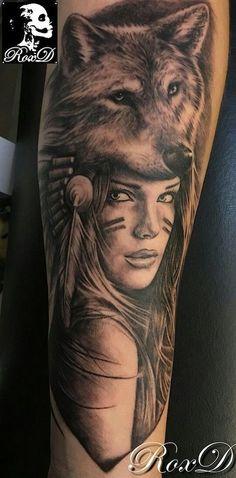 Resultado de imagem para tattoo face girl and lion Wolf Girl Tattoos, Indian Girl Tattoos, Tattoo Wolf, Indian Head Tattoo, Native American Tattoos, Native Tattoos, Maori Tattoos, Tattos, Tattoo Girls