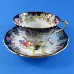 Royal Albert Deep Cobalt Blue and Oriental Pagoda Tea Cup and Saucer Set | eBay
