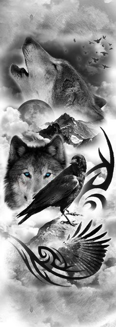 wolf tattoo sleeve - Google Search                                                                                                                                                      More