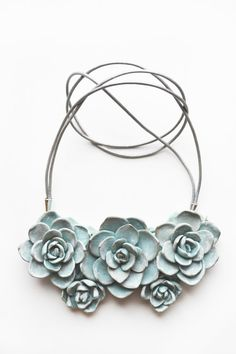 Succulent necklace Chunky Bib Necklace Succulent Jewelry Flower Necklace Polymer Clay Necklace Flower Statement Flower jewellery by BrightBlooming
