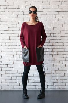 Items similar to OFF Burgundy Maxi Tunic/Bordo Extravagant Leather Pocket Top/Oversize Loose Blouse/Comfortable Wine Shirt/Long Sleeve Top/Plus Size Maxi on Etsy Long Tunic Tops, Long Sleeve Tops, Long Sleeve Shirts, Stylish Outfits, Stylish Clothes, Plus Size Maxi, Sweatshirt Dress, Loose Tops, Diy Clothes
