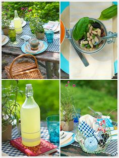 Gingham summer picnic party. Niçoise salad recipe: http://camillestyles.com/2012/tuesday-tastings-nicoise-salad-to-go/ from Camille Styles.