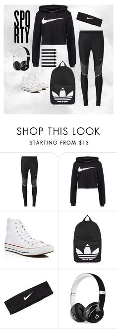 """""""Sporty School Day!"""" by softball4volleyball10 ❤ liked on Polyvore featuring NIKE, Converse, Topshop, Beats by Dr. Dre and Kate Spade"""