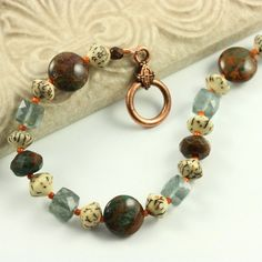 Moss Aquamarine Bracelet Green Opal by AbacusBeadCreations on Etsy #jewelry #aquamarine #bracelet