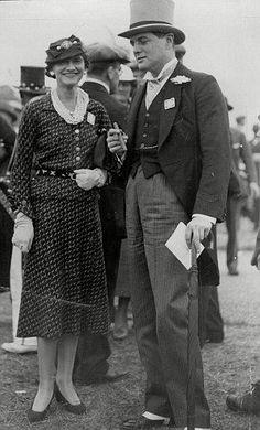 Coco Chanel pictured with Sir Winston Churchill's son Randolph Churchill at Ascot circa 1930's.