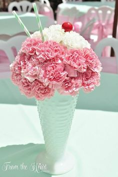 This Ice Cream Party is styled to resemble an ice cream parlor! Â Ice Cream Tr… This Ice Cream Party is styled to resemble an ice cream parlor! Â Ice Cream Truck cake, bistro style tables, ice cream sundae flower arrangements Birthday Party Themes, Girl Birthday, Birthday Ideas, Birthday Banners, Birthday Table, Birthday Invitations, Birthday Gifts, Ice Cream Social, Deco Originale