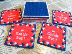 In God We Trust Patriotic Coaster Set with Box Plastic Canvas Pattern on Etsy, $3.50