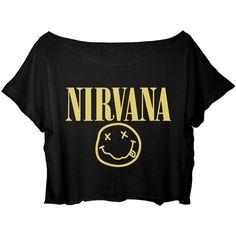 ASA Women's Crop Top Nirvana Shirt Kurt Cobain Nirvana T-Shirt found on Polyvore featuring tops, t-shirts, shirts, black shirt, crop tee, black tee, shirt crop top and crop shirts