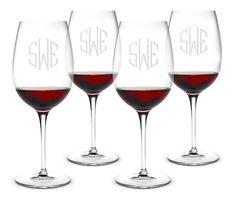 Monogrammed Bormioli Bordeaux Wine Glass Set