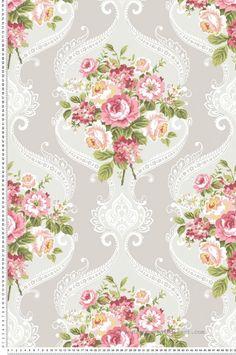 Médaillons fleuris gris et rose - Collection Mod Chic d'Initiales